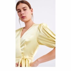 ZARA SILKY Satin WRAP DRESS Pastel Yellow